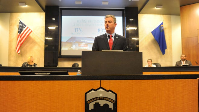 Reno City Manager Andrew Clinger delivers the annual state of the city address Wednesday at Reno City Hall. August 27, 2014.