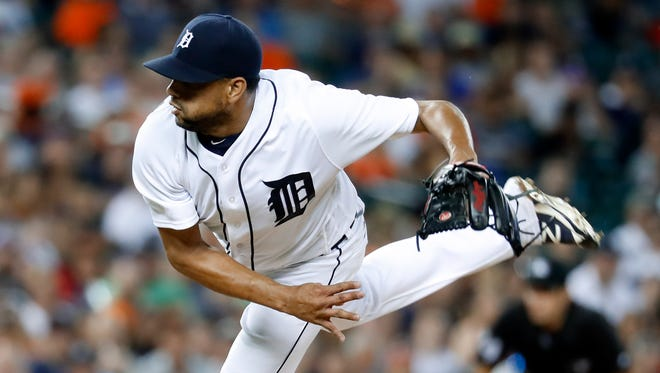Tigers pitcher Francisco Rodriguez throws against the White Sox in the ninth inning of the Tigers' 2-1 win Wednesday at Comerica Park.