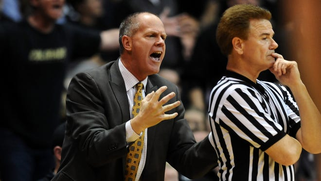 Colorado Buffaloes head basketball coach Tad Boyle has expressed a reluctance to schedule CSU in the coming years. Mandatory Credit: Ron Chenoy-USA TODAY Sports