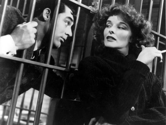 """""""Bringing up Baby"""" stars Cary Grant as an earnest paleontologist and Katharine Hepburn as a scatterbrained heiress. See it May 11 at the Historic Elsinore Theatre."""