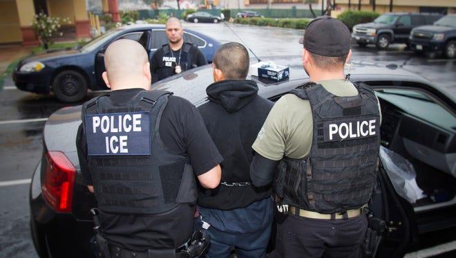 An arrest in Los Angeles on Feb. 7, 2017.