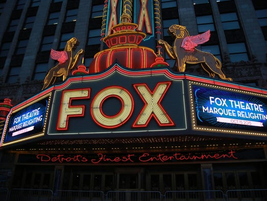 The Fox Theatre marquee during the relighting event