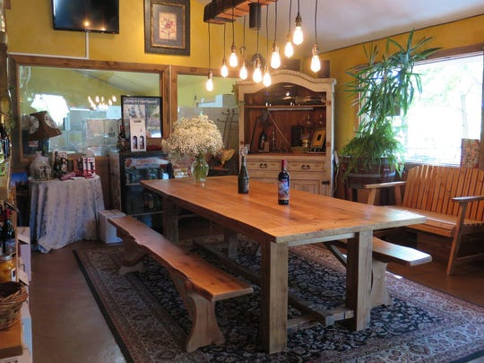 The tasting room at Maison la Belle Vie includes many French touches.