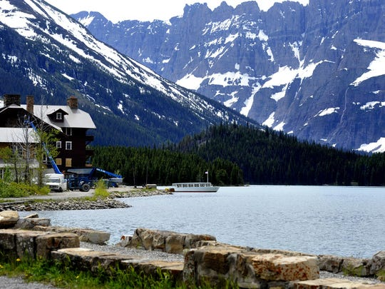 Swiftcurrent Lake and Many Glacier Hotel.