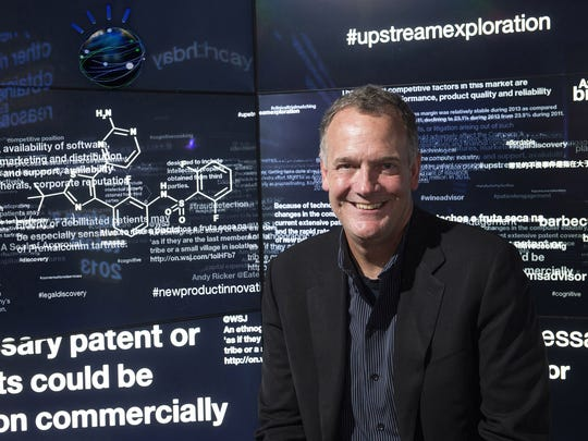 IBM Watson Group Senior Vice President Mike Rhodin demonstrates Watson at work in its Client Experience Center at its new global headquarters in New York City's Silicon Alley.