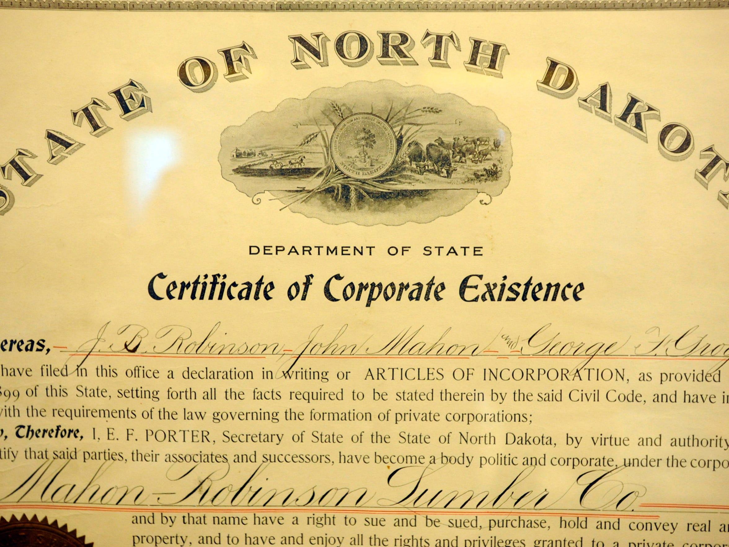 Lumber Yard Supply 1906 business charter.