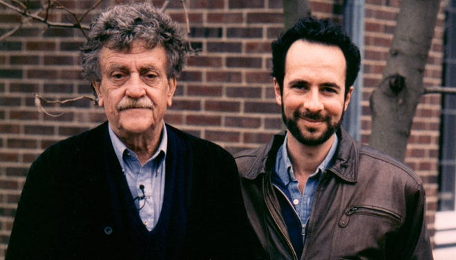 Kurt Vonnegut with filmmaker Robert Weide.