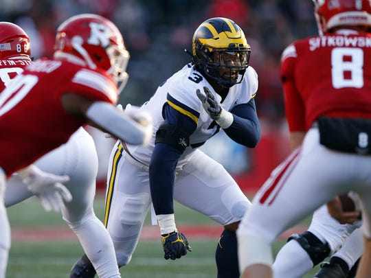 Rashan Gary plays against Rutgers last season.