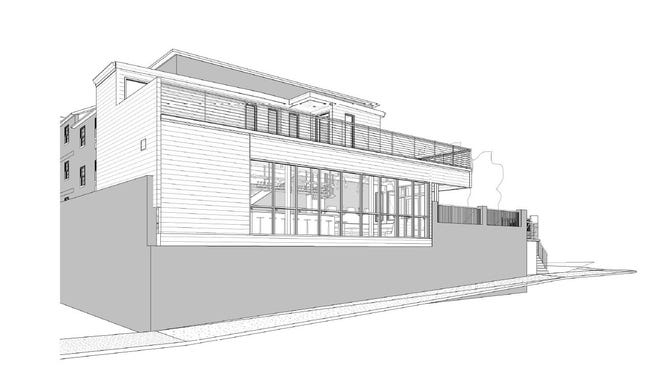 A perspective drawing showing the addition planned to SoBro Guest House for the bar and rooftop.