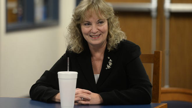Indiana Superintendent of Public Instruction Glenda Ritz talks to a group of students, teachers and administrators Wednesday, Sept. 23, 2015, during a visit to Union County High School in Liberty.