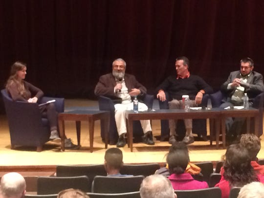 Maggie Tienhaara (left) hosted an interfaith dialogue panel at Hamilton Southeastern High School with Shaker Rashid (from second from left), Sean Tienhaara and Rabbi Hal Schevitz (right).
