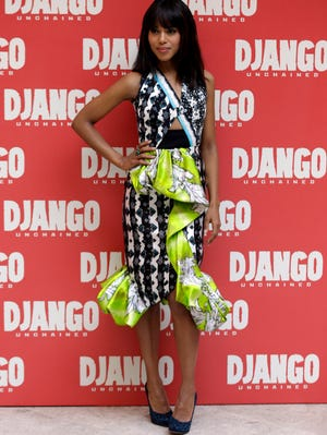 Actress Kerry Washington wears a Peter Pilotto dress while promoting 'Django Unchained' in Rome in January.