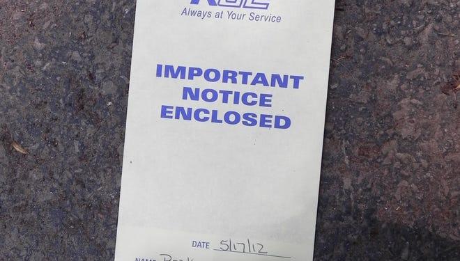 RG&E shutoff notice