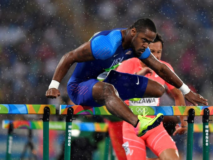 USA's Jeff Porter competes in the men's 110-meter hurdles