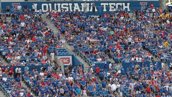 Louisiana Tech' crowd is shown earlier this year in