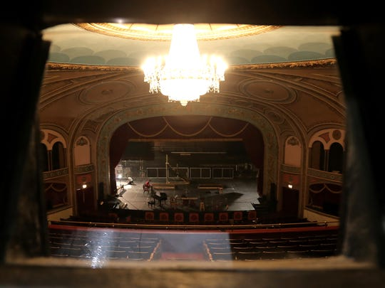 A view of the stage from the projection booth of the Renaissance Theatre.