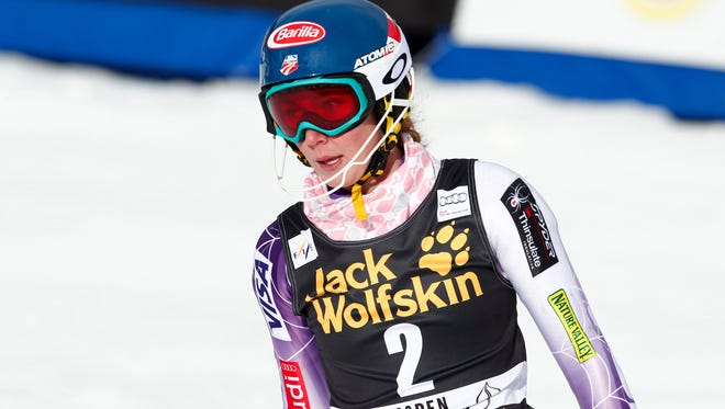 Mikaela Shiffrin (USA) after her first run during the women's slalom in the FIS alpine skiing World Cup at Aspen Mountain on Sunday.