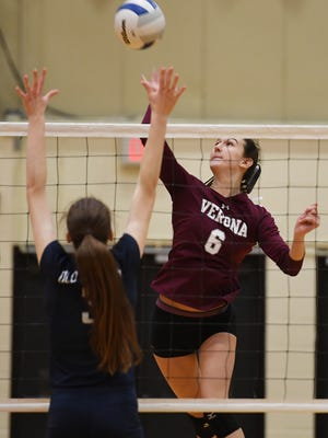 Northern Valley Regional at Old Tappan vs Verona in the girls volleyball State Tournament of Champions at William Paterson University on Saturday, November 18, 2017. V #6 Hunter Coppola hits the ball over the net.