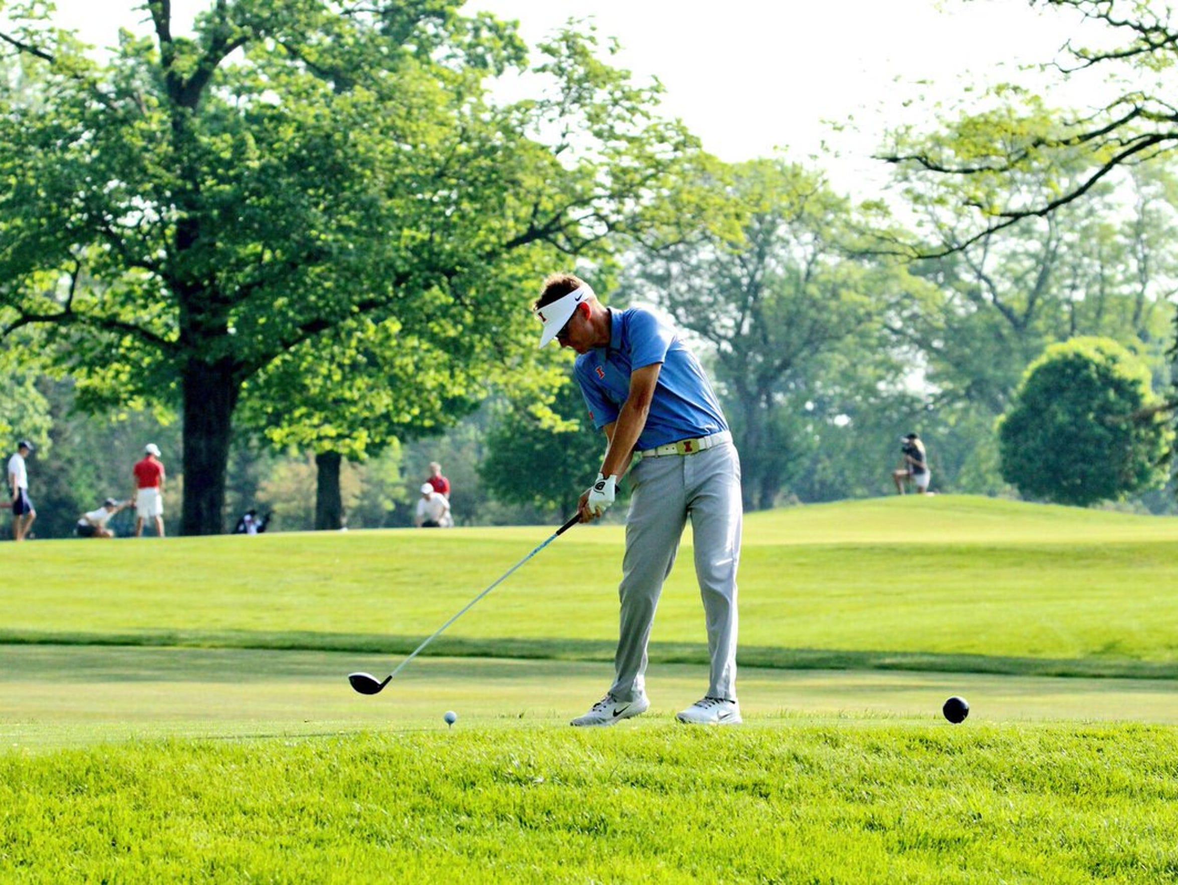 Illinois senior Dylan Meyer hits a tee shot during