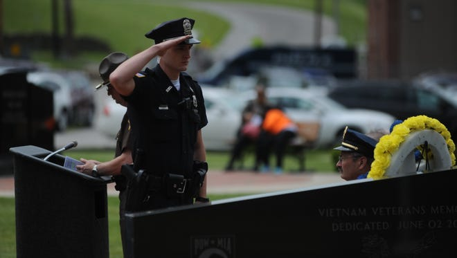 The Wayne County law enforcement memorial service will be noon Friday at Veterans Memorial Park.
