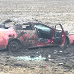 A car involved in a pursuit near Sioux City on Tuesday rolled, leaving three people with non life-threatening injuries.