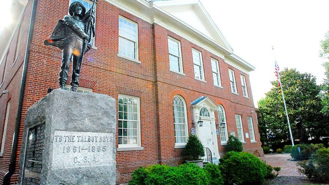 "The Confederate hero memorial ""To the Talbot Boys,"" on the lawn of the Talbot County Courthouse, has sparked debate."