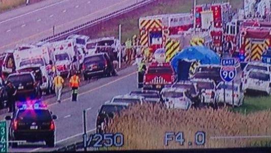 Thruway crash in Henrietta.