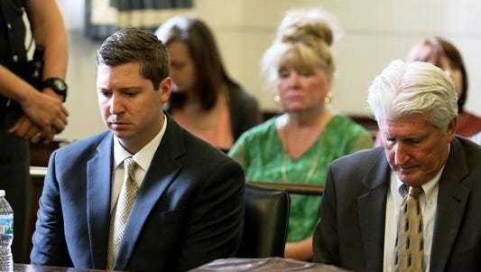 Ray Tensing, left, and his attorney Stew Mathews react as Hamilton County Common Pleas Judge Leslie Ghiz tells the jury to continue deliberations Friday.