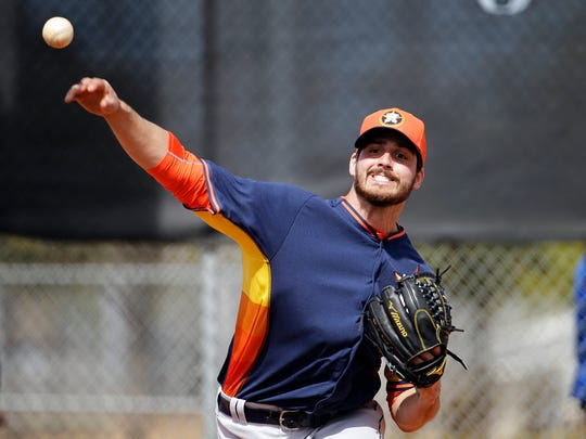Mark Appel during his time in the Astros system in 2015. (AP Photo/David Goldman)