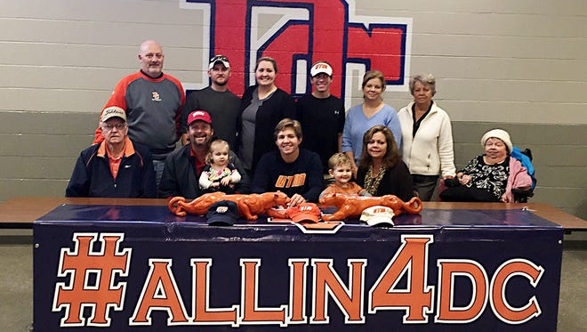 Dickson County High senior Jack Story recently signed with the golf program at UT Martin. He's pictured with friends, family and coaches.