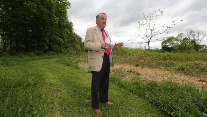 Peter Parsons, supervisor of the Town of Lewisboro, stands at the Old Field Preserve in Waccabuc on May 13.