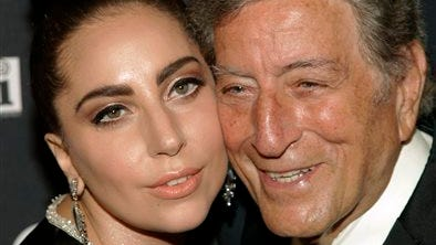 Recording artists Lady Gaga, left, and Tony Bennett, attend a Tony Bennett and Lady Gaga concert taping, in New York.  Bennett and Lady Gaga?s jazz collaborative album, ?Cheek to Cheek,? will be released on Sept. 23. It features songs from the Great American Songbook.