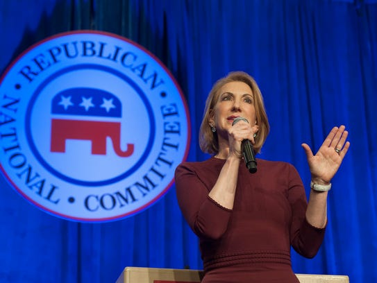 Carly Fiorina speaks during the welcome reception at