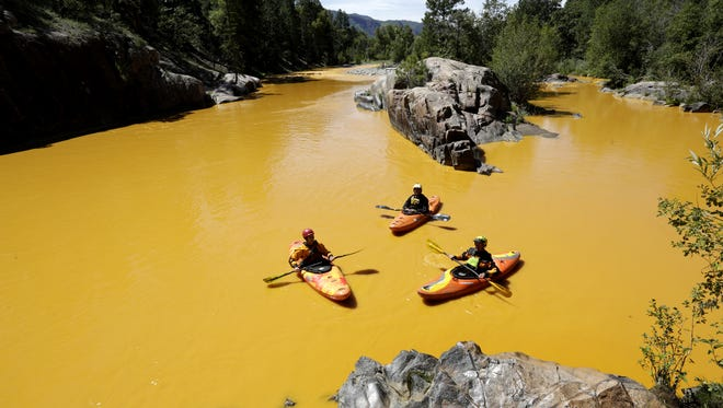 Polluted wastewater moves down the Animas River after an EPA mine-cleanup crew triggered the 3 million-gallon spill north of Durango, Colo. Jerry McBride/Durango Herald People kayak in the Animas River near Durango, Colo., Thursday, Aug. 6, 2015, in water colored from a mine waste spill. The U.S. Environmental Protection Agency said that a cleanup team was working with heavy equipment Wednesday to secure an entrance to the Gold King Mine. Workers instead released an estimated 1 million gallons of mine waste into Cement Creek, which flows into the Animas River. (Jerry McBride/The Durango Herald via AP) MANDATORY CREDIT