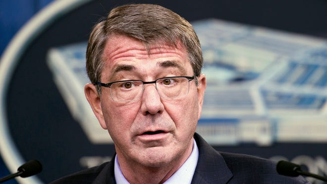 Defense Secretary Ash Carter speaks at a news conference at the Pentagon on Thursday, Jan. 28, 2016, where he said the military will start covering sperm and egg freezing for troops.