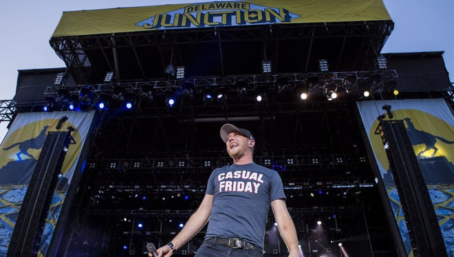 Cole Swindell performs at the Delaware Junction Music Festival on August 14, 2015 in Harrington.