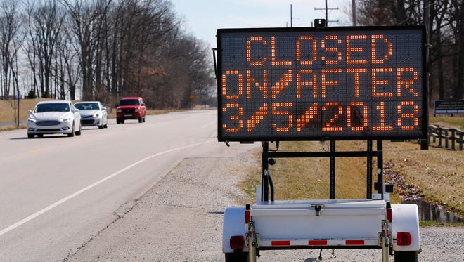 A sign alerts motorists of upcoming road closurer Friday, March 2, 2018, on McCorming Road in West Lafayette. McCormick Road south of Fairway Lane to Westwood will be closed beginning on Monday, March 5. Several road closures and traffic restrictions will begin next week as the final year of construction on the State Street Project gets underway.