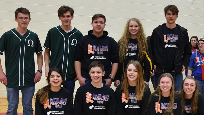 The graduating senior students were honored at the regional Destination Imagination tournament March 3, 2018. The students are Montana Grosbeier, Courtney Guilette, Connor Preston, Greg Evans, Tim Shulfer, Noah Lataide, Lexie LeClair, Bennett Rabach, Mallory Staats, Lamyra Adams and Juanita Sandoval.