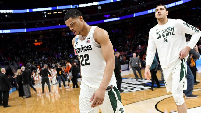Miles Bridges leaves the court at Little Caesars Arena after Michigan State's 55-53 loss to Syracuse in the second round of the NCAA tournament.