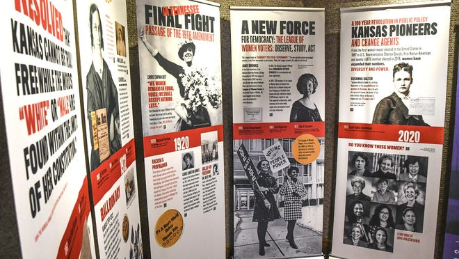 A statewide traveling exhibit on the 19th Amendment centennial is shown Oct. 29 at the Finney County Historical Museum's Front Door Gallery. The exhibit focuses on the struggle by Kansas and American women to gain the right to vote. The traveling exhibit's run in Garden City came to a close on Friday, heading to its next stop in Scott City.