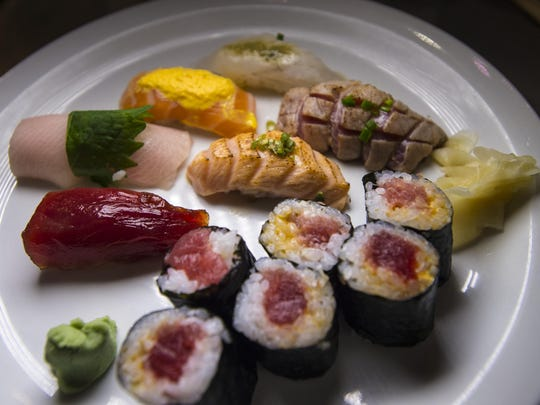 Chef's special sushi platter during a chef's night