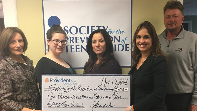 In 2016, the Society for the Prevention of Teen Suicide was been awarded $9,103 for the SPTS Teen University by The Provident Bank Foundation.  The grant will provide funds to launch a pilot program in Monmouth County; SPTS Teen University.  New Jersey high schools are not required to offer curriculum that confronts issues of suicide prevention, coping skills, help seeking and transitional skills.
