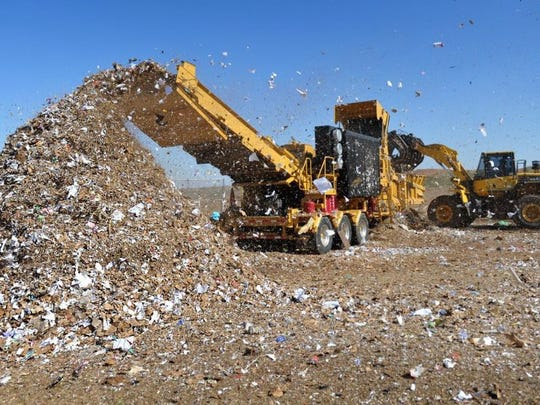 In this file photo a grinder blends organic waste at the Wichita Falls landfill. The Sanitation Department budget is allotting about $900,000 for capital equipment upgrades for landfill equipment in the 2019-2010 fiscal year.