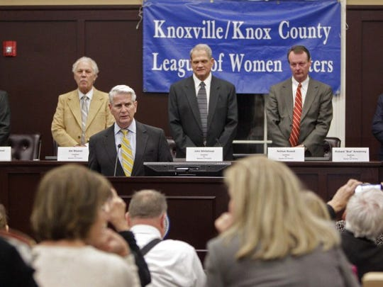 "Former state Supreme Court Justice Gary Wade, dean of Lincoln Memorial University's Duncan School of Law, front left, speaks before a debate hosted by the Knoxville/Knox County League of Women Voters on Thursday, Feb. 4, 2016, in Knoxville. Behind Wade are candidates for Knox County property assessor, from left, Andrew Graybeal, Jim Weaver and John Whitehead, and candidates for Knox County law director Nathan Rowell and Richard ""Bud"" Armstrong. (WADE PAYNE/SPECIAL TO THE NEWS SENTINEL)"