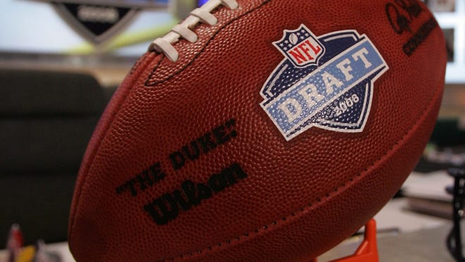 In 2008: A football with the NFL draft logo is seen on the podium prior to the start of the NFL draft in New York City.