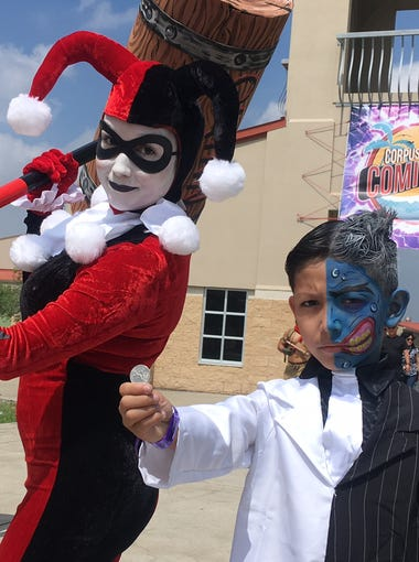 Veronica Olivarez and Abel Garcia III,9, cosplay as DC characters Harley Quinn and Two Faced at the second annual Corpus Christi Comic Con Saturday, June 23, 2018.