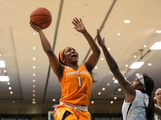 Tennessee guard Anastasia Hayes scored two clutch driving baskets in overtime of the Lady Vols' victory over Marquette at the Cancun Challenge.