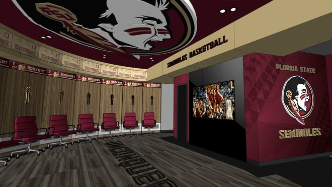 A rendering of Florida State's new men's and women's locker rooms under construction in the Donald L. Tucker Center. The project is expected to be completed by December 2016.