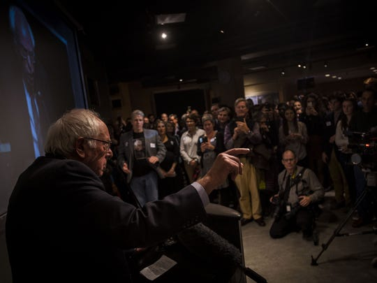 Sen. Bernie Sanders speaks at a Vermont Democratic Party fundraiser at ECHO in Burlington on Thursday night, Nov. 9, 2017, before introducing DNC Deputy Chairman Keith Ellison.