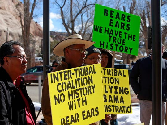 Gilbert Ben, center, of Aneth Chapter in Utah, was part of a group that shared concerns about Bears Ears in a gathering in front of the Navajo Nation Council chamber and during the winter session on Jan. 25 in Window Rock, Ariz.